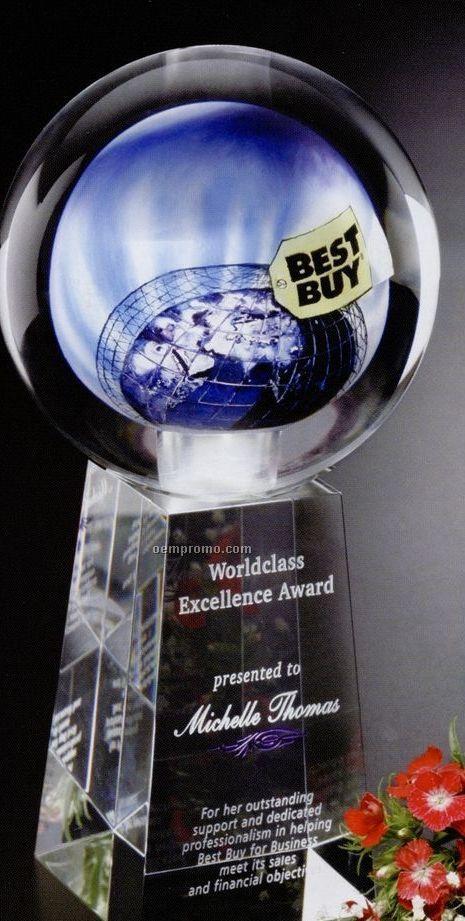 """Crystal Hand Painted Sphere Award (5"""" Sphere)"""