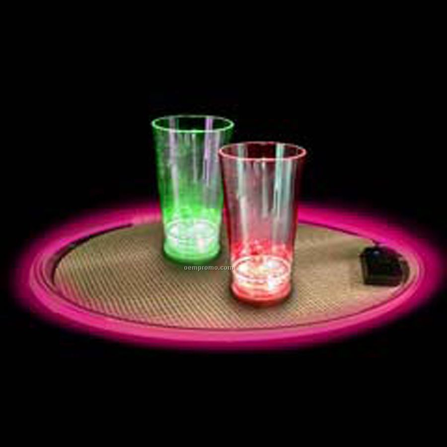 Round Lighted Serving Tray W/ Pink LED Edge (14