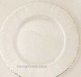 Elegance Turkish Glass Ray/ Silver Rim Charger - Set Of 4