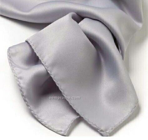 "Wolfmark Solid Series Light Gray Silk Scarf (8""X45"")"