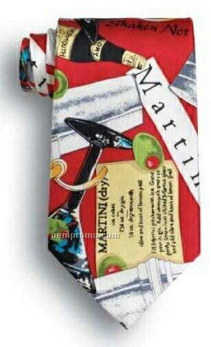 "Wolfmark Novelty Neckwear Martini Memphis 100% Silk Tie (58""X3-7/8"")"