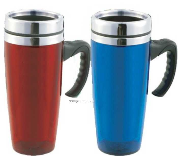18 Oz. Stainless Travel Mug W/Stainless Liner & Half Handle
