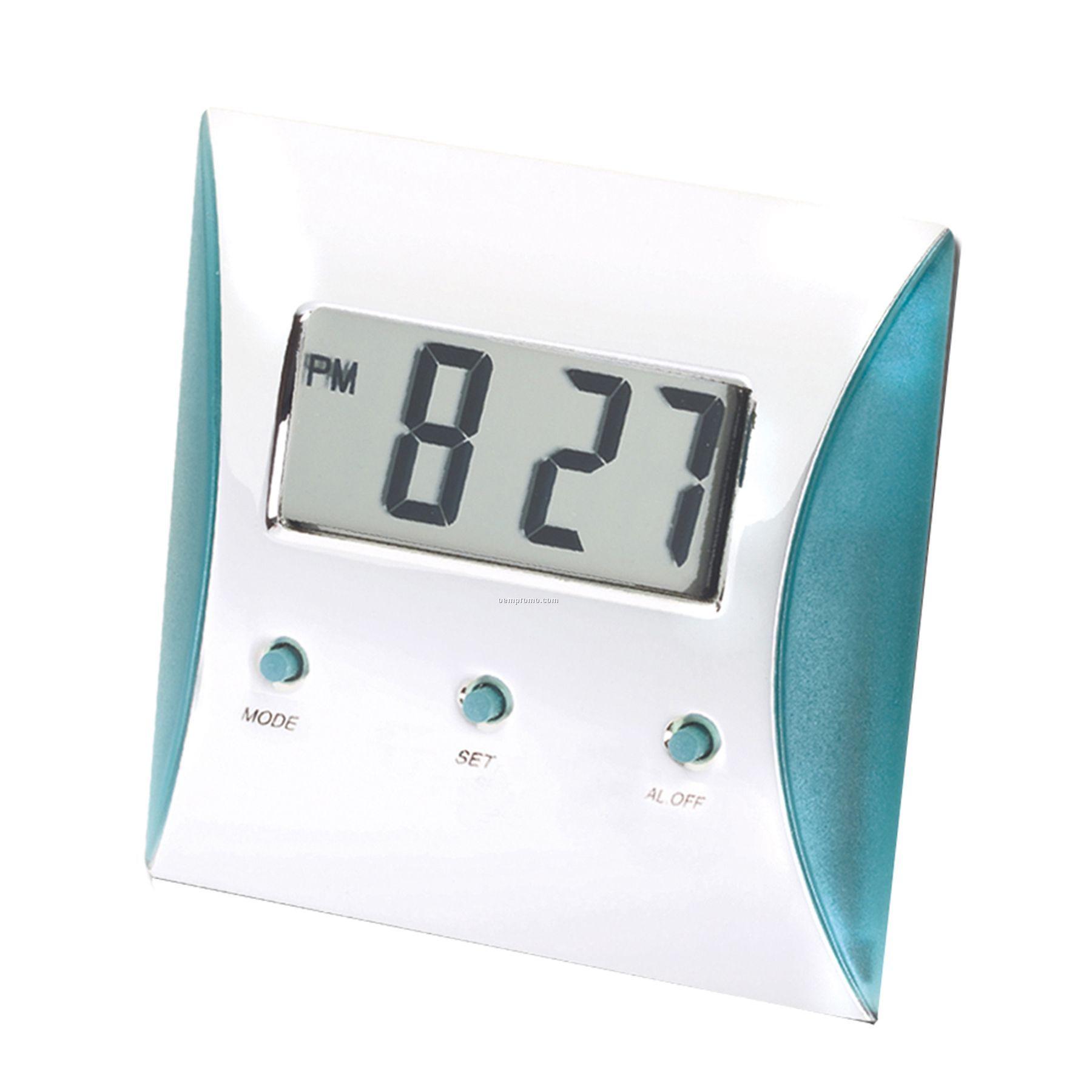 Silver/Turquoise Blue Digital Lcd Alarm Clock