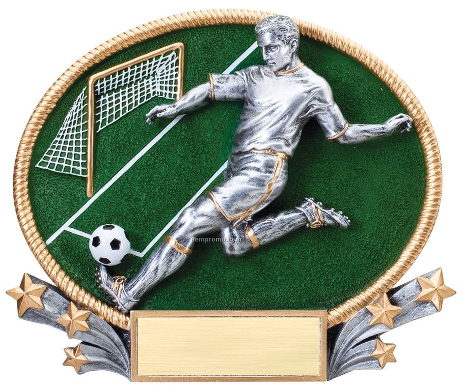 Soccer, Male 3d Oval Resin Awards - Small
