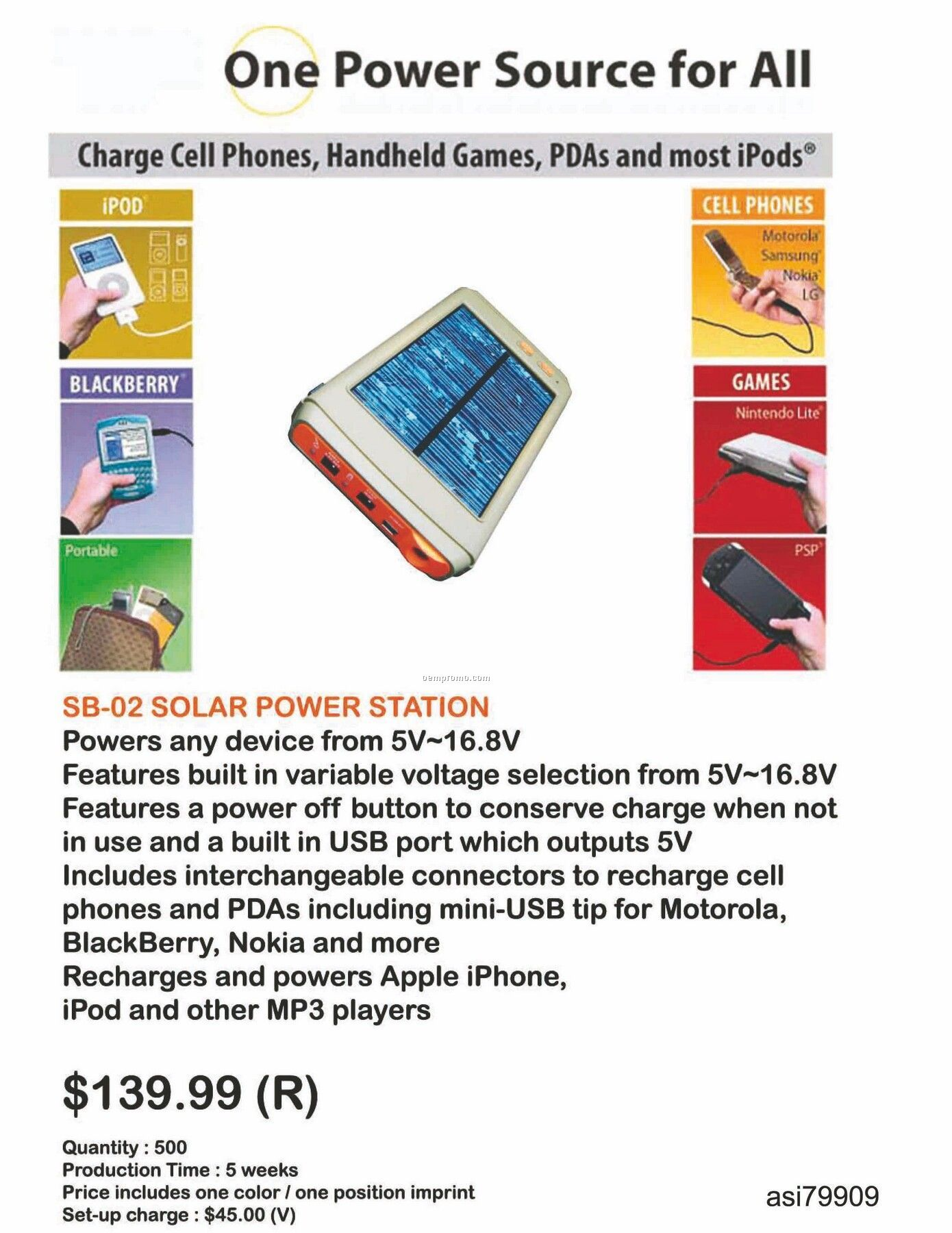 Solar Charger For Laptop, Iphone, Ipod, Blackberry, Android