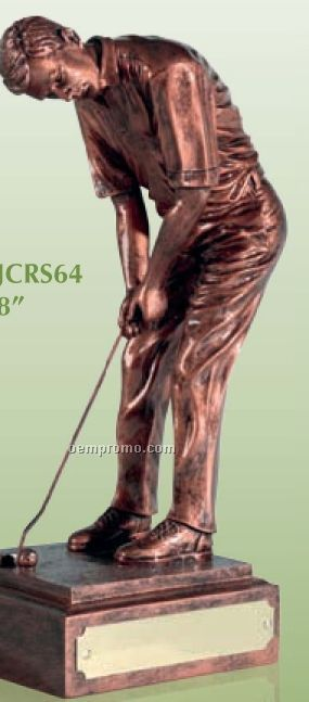 Swatkins Champion Male Golfer Figurines W/ An Antique Copper Finish / 8