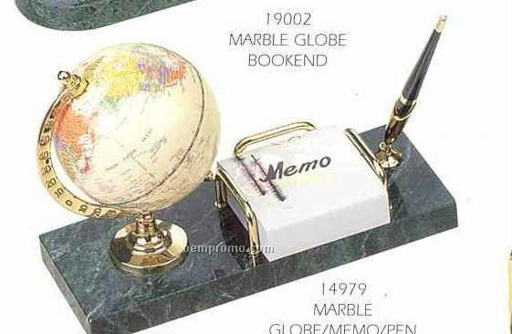 Green Marble Stand W/Memo Pad Holder/Globe & Pen Set