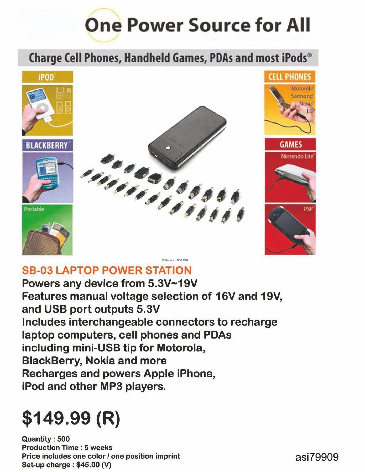 Battery Charger For Laptop, Iphone, Ipod, Blackberry, Android