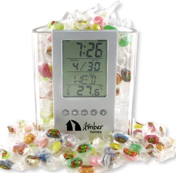 Clear Pen Cup W/ Digital Alarm Clock & Thermometer