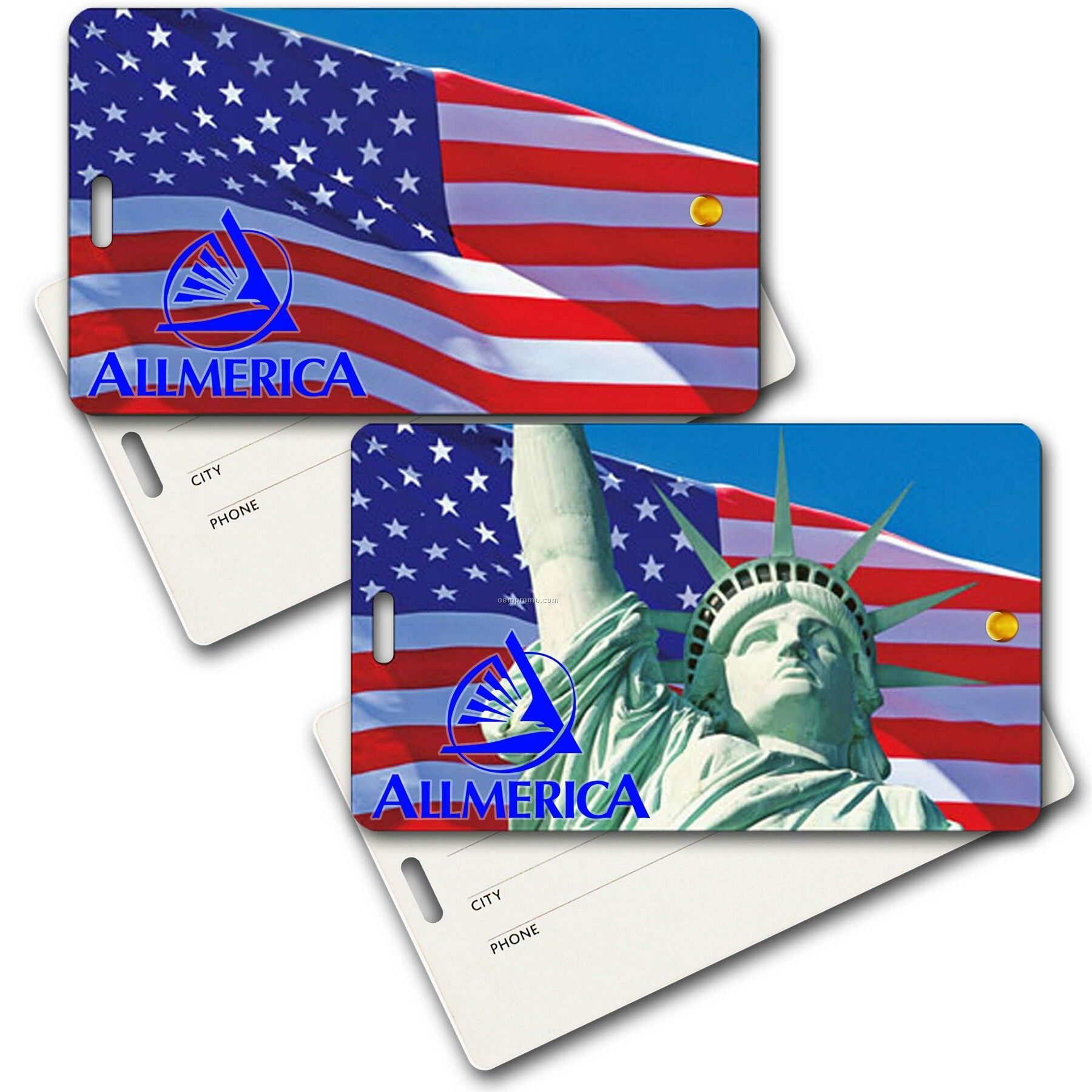 Privacy Tag W/3d Lenticular Images Of Lady Liberty And Us Flag (Imprint)