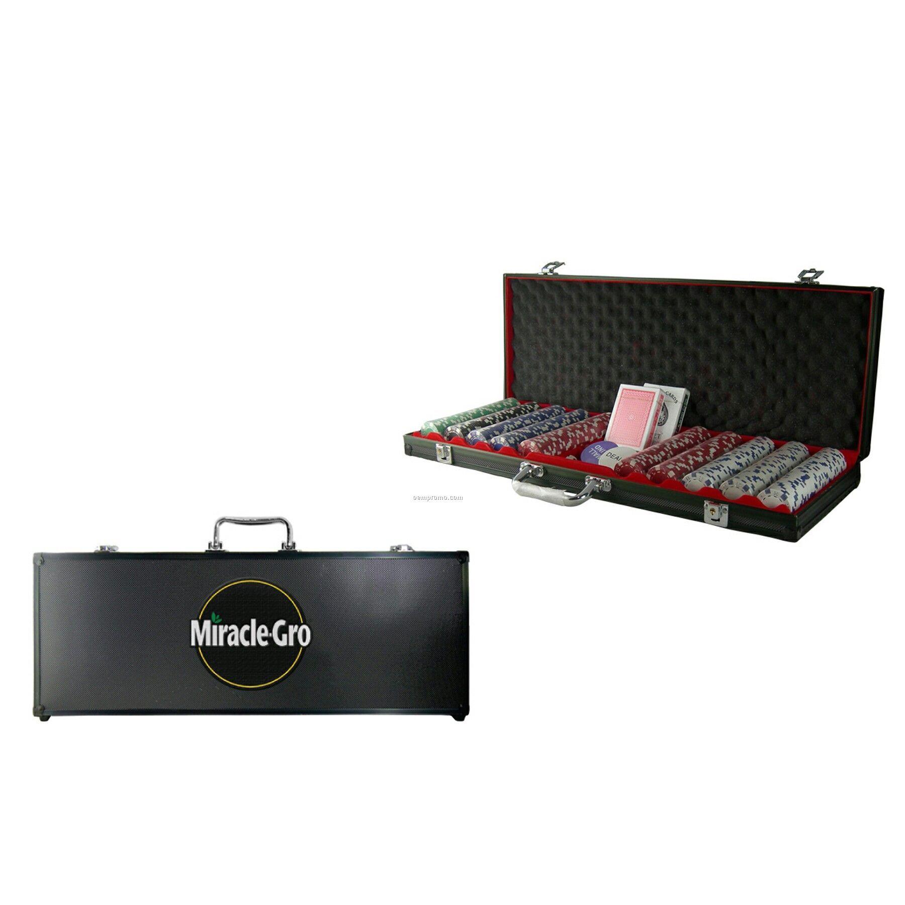 500-piece Poker Chip Set W/Black Case (1 Side Chip Imprint)