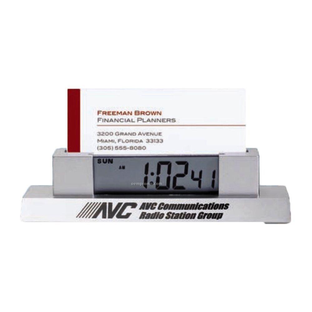 Desk Clock With Business Card Holder