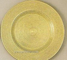 Elegance Turkish Glass Rope Metallic Gold Rim Charger - Set Of 4