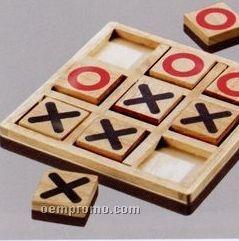 Imprinted Wood Tic Tac Toe Game