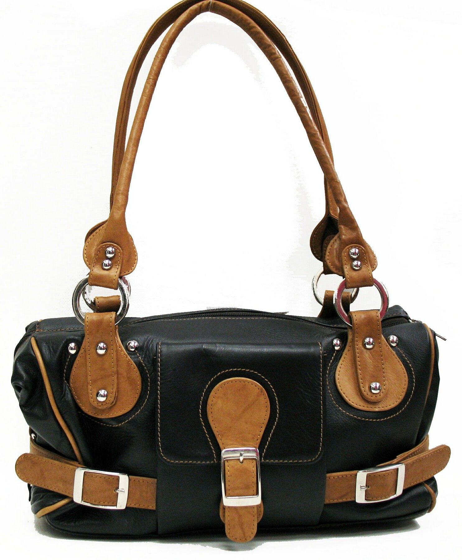 2 Tone Equestrian Bag W /Double Handle / Black