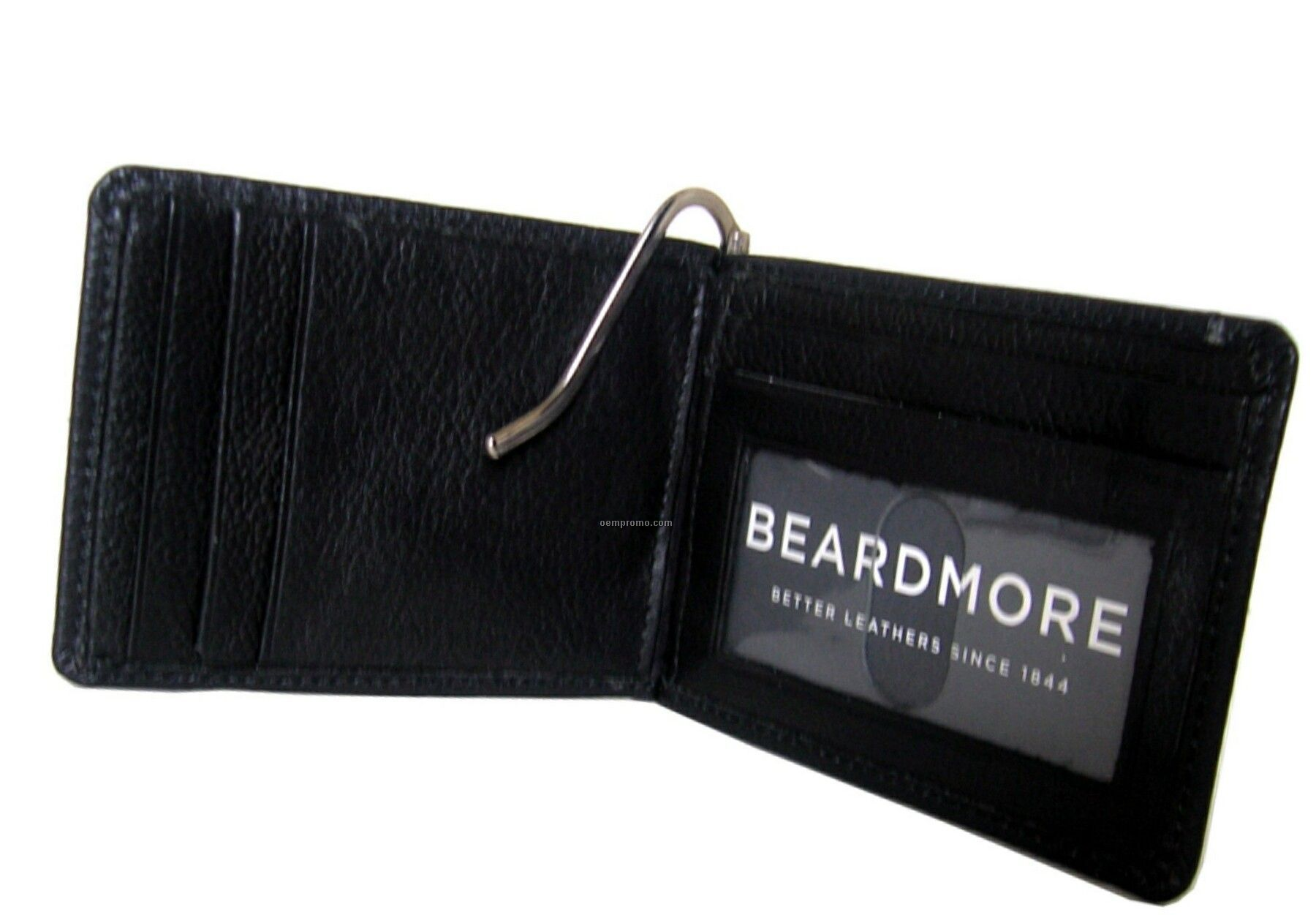 Black Leather Bi-fold Money Clip