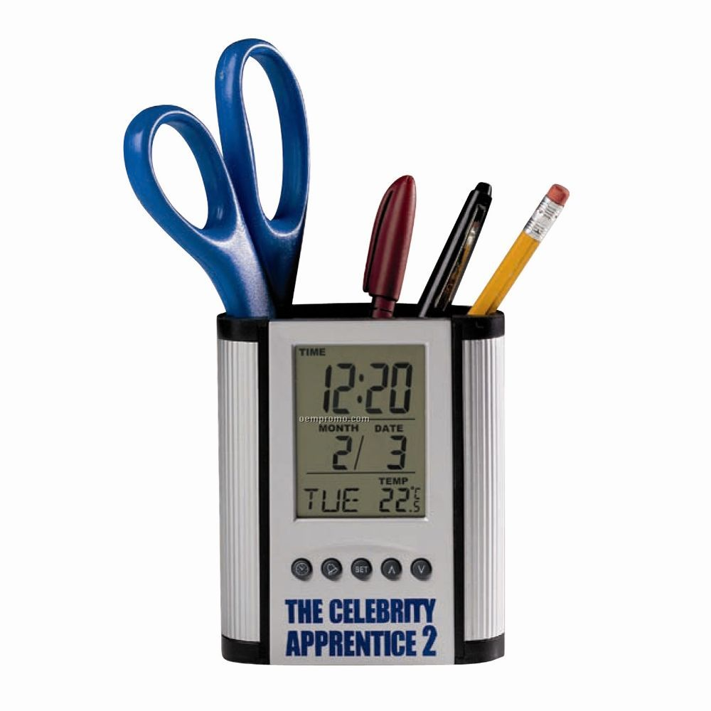 Clock With Pencil Holder