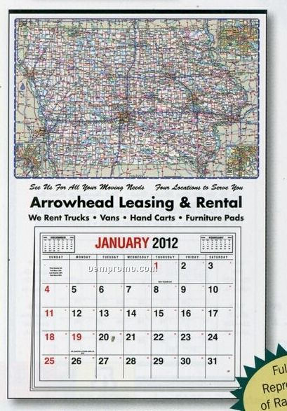 Large Full Apron Iowa State Map Calendar - After 05/31/11