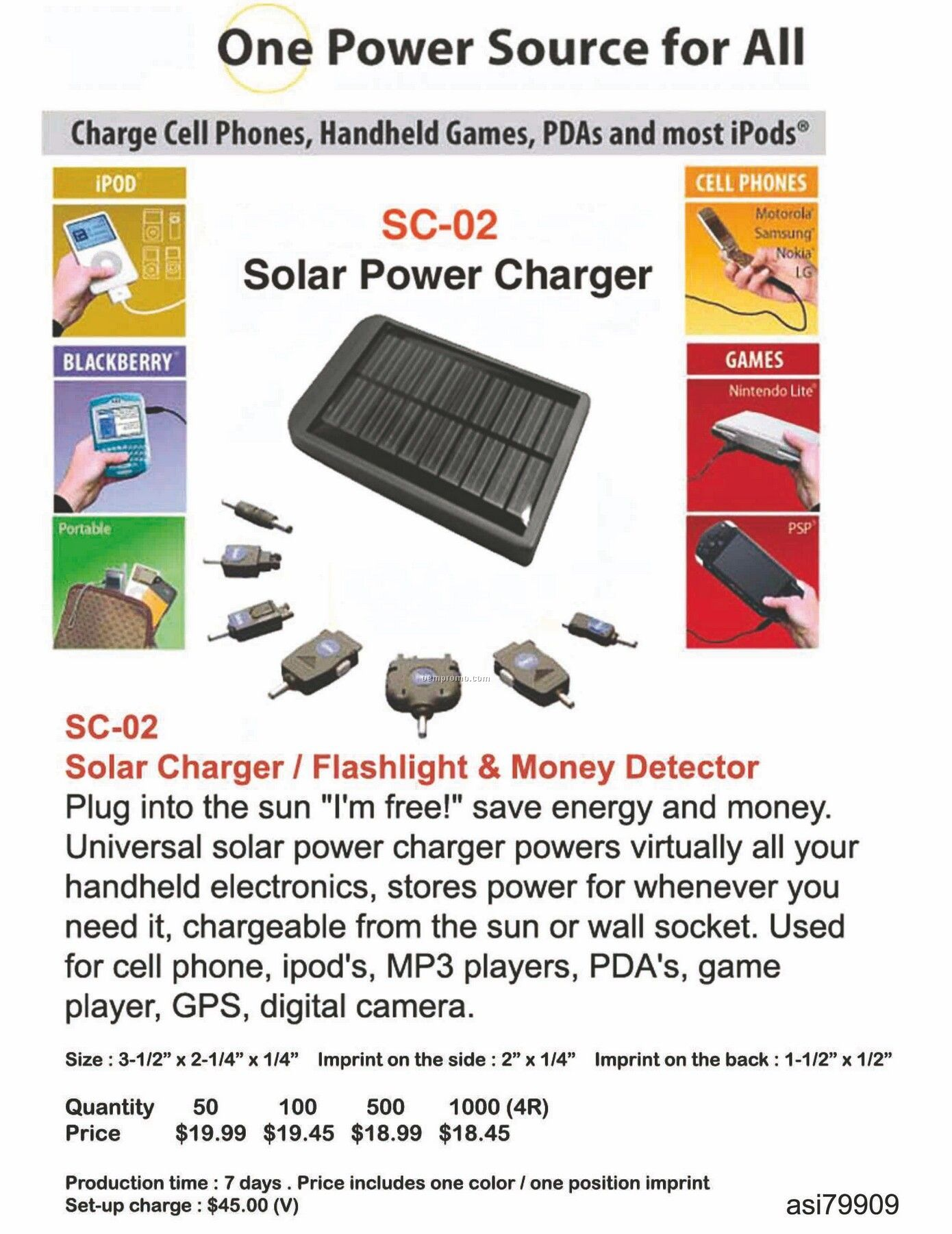 Solar Charger / Flashlight / Money Detector
