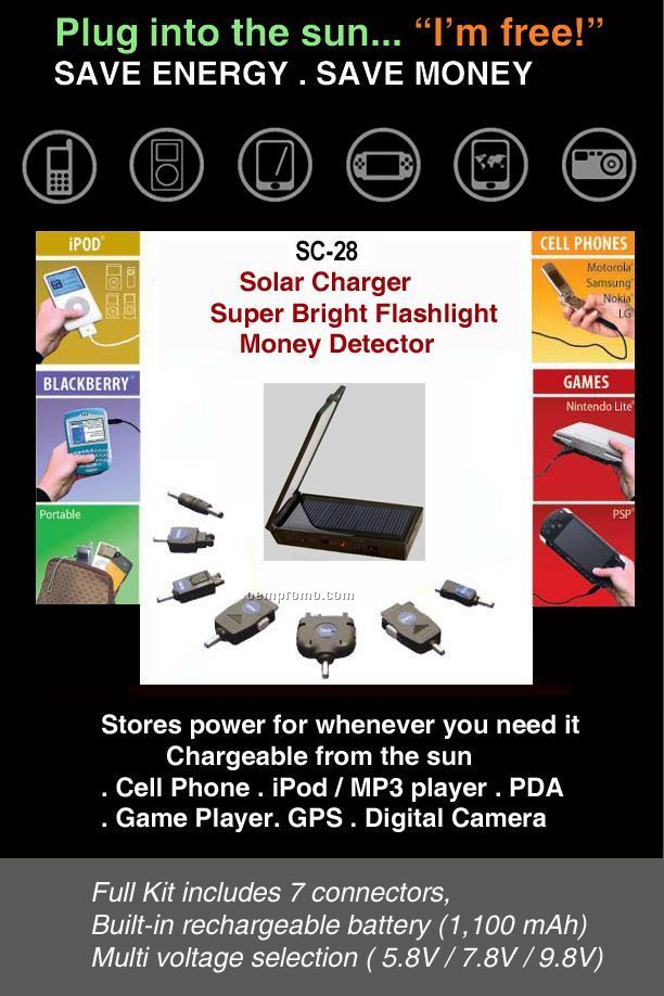 3-n-1 Solar Charger / Solar Flashlight / Solar Money Detector