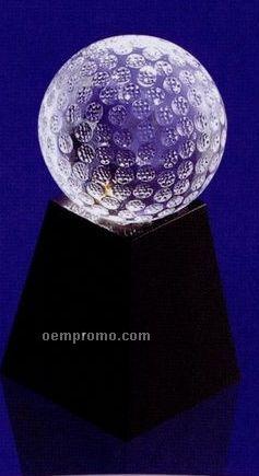 60 Mm Optical Crystal Golf Ball Award W/ Marble Base