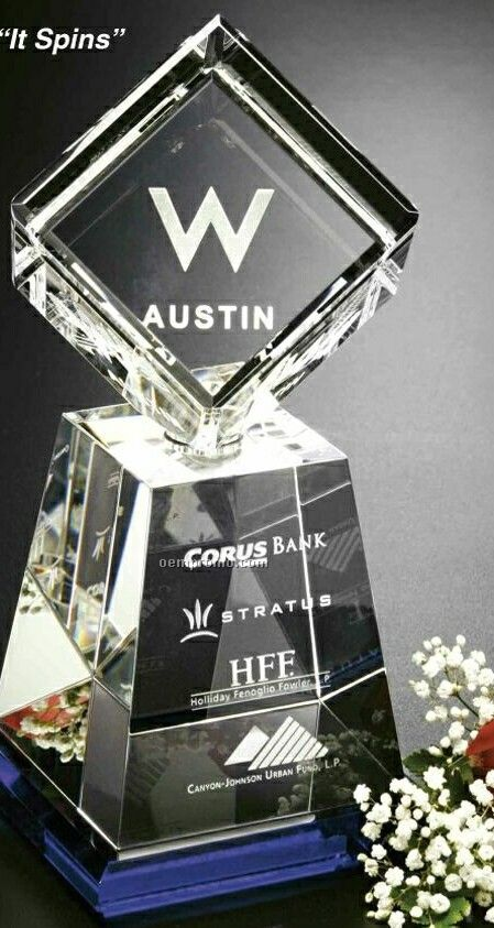 "Awards In Motion Spinning Crystal Albany Award (10"")"