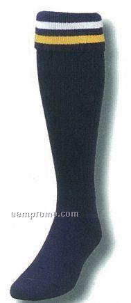 Custom Made Striped Fold Over Heel & Toe Soccer Sock (10-13 Large)