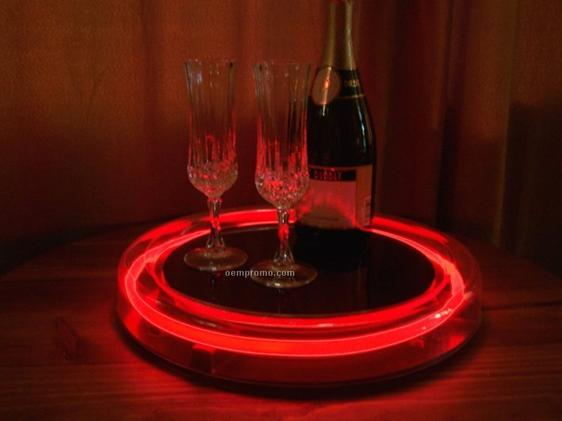 Red Round Light Up Serving Tray W/ 8 AA Battery Power