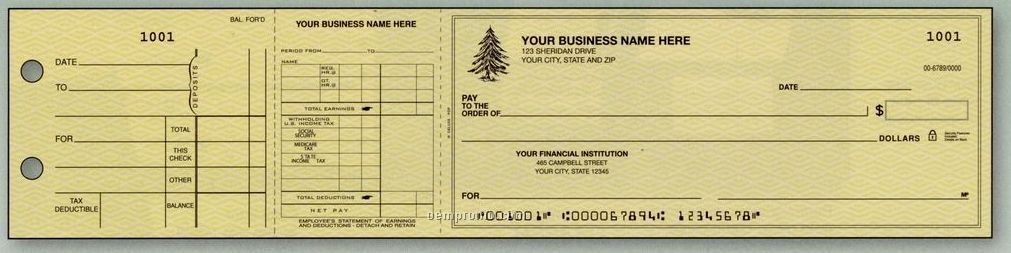 Payroll Dual Purpose 3-on-a-page Check (2 Part)