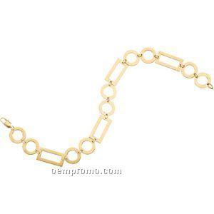 14ky Geometric Square And Circle Bracelet