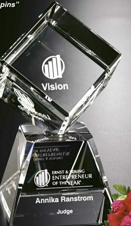"""Awards In Motion Spinning Crystal Arden Award (8"""")"""