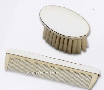 Silverplated Boy's Brush & Comb Set
