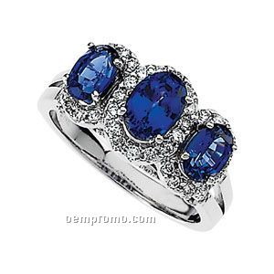 14kw Chatham Created Sapphire And 3/4 Ct Tw Diamond Ring