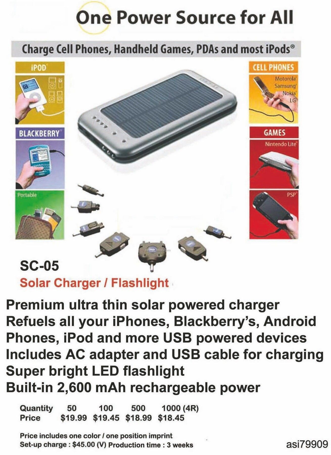 Solar Charger, Flashlight For Iphone, Ipod, Blackberry, Android