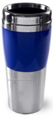 16 Oz. Double Wall Stainless Blue Synergy Tumbler W/Acrylic Band