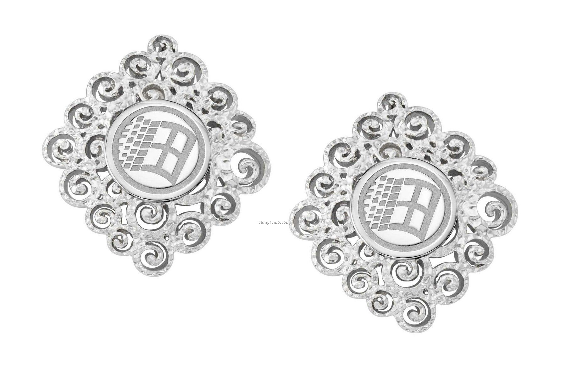 Ovations - Grandeur Silver Plated Earrings - Round Area For Laser Engraving