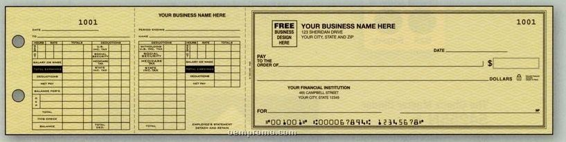 Payroll Maximum Deductions 3-on-a-page Check (2 Part)