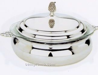 Silverplated 3 Quart Round Covered Casserole Dish