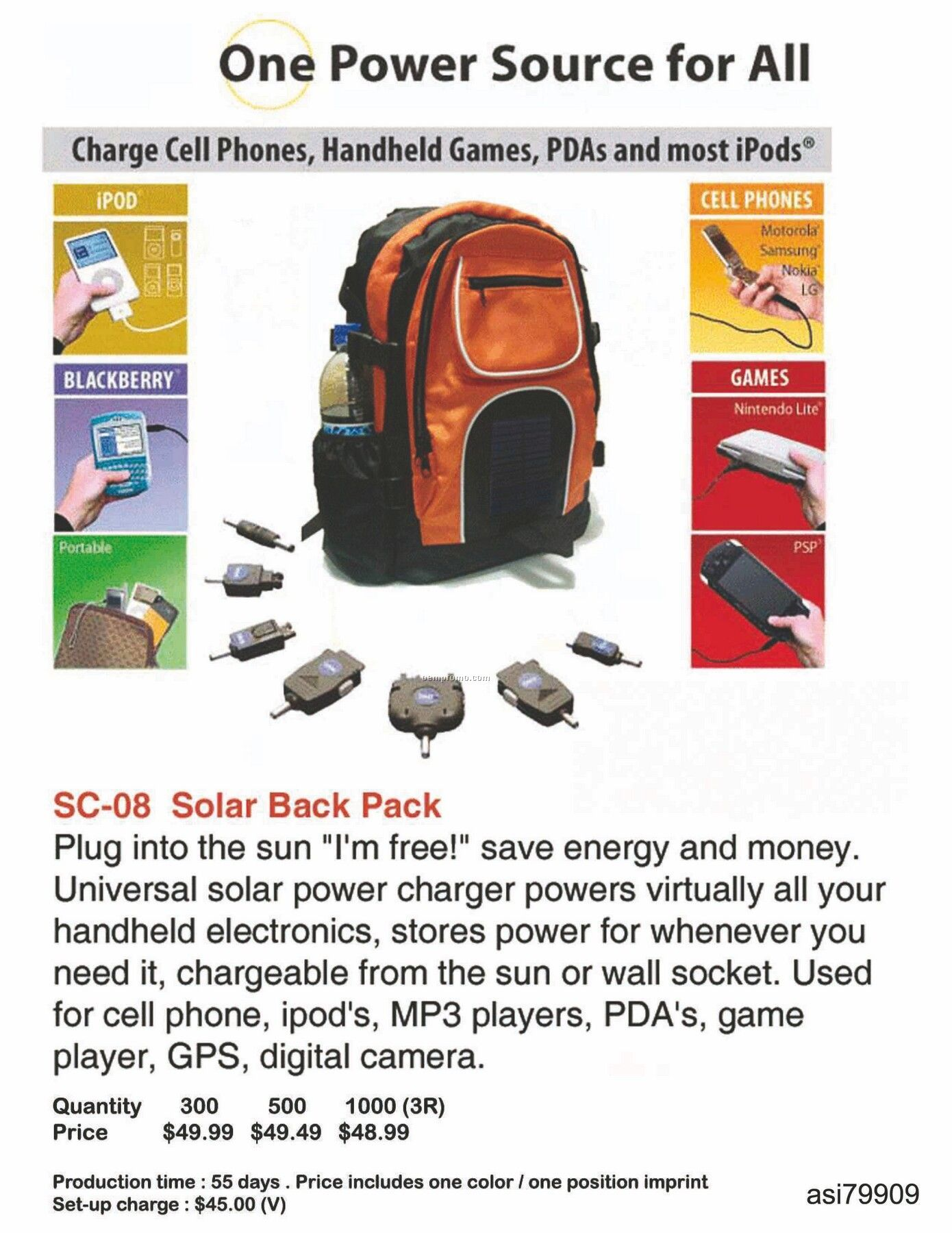 Solar Backpack Charger For Iphone, Ipod, Blackberry, Android
