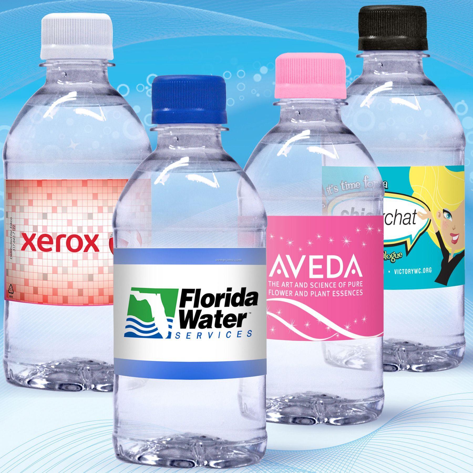 12 Oz. Custom Label Spring Water W/Flat Cap - Clear Bottle