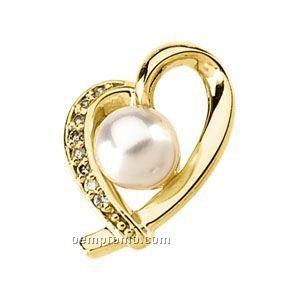 14ky Akoya Cultured Pearl And Diamond Heart Pendant