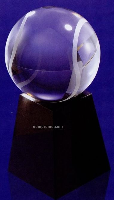 80 Mm Optical Crystal Glaze Ball Award W/ Marble Base