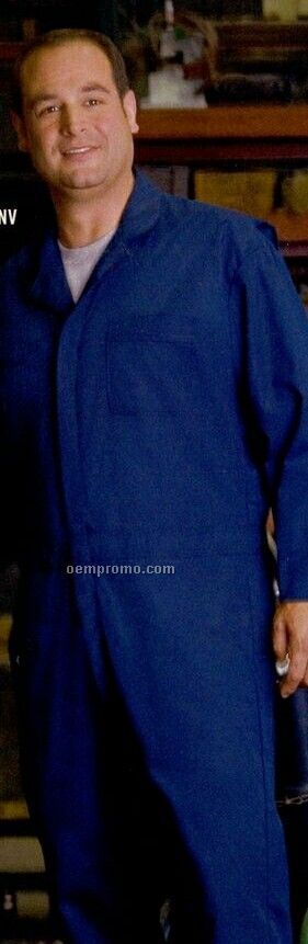 Men's Button Front Cotton Coveralls (S-xl) Postman Blue