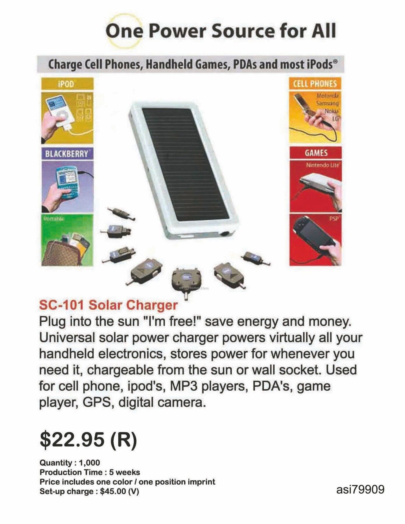 Solar Charger For Iphone, Ipod, Blackberry, Android