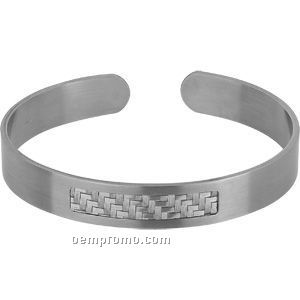 8mm Mens Stainless Steel And Sterling Cuff Bracelet