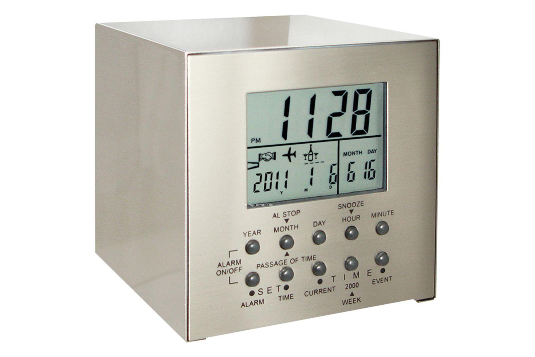 Cube 3-event Alarm Clock W/ Countdown Display