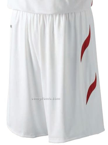 Dunbar Men's Polyester Spandex Basketball Shorts W/ Contrast Trim (White)