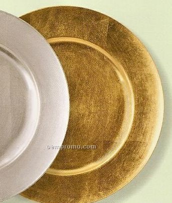 Elegance Lacquer Poly Gold Round Charger - Set Of 4
