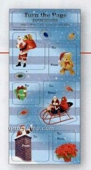 White Paper Christmas Holiday Sticker Sheet (Santa Sleigh & Chimney)