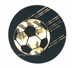 """Black / Gold Hologram Mylar Insert - 2"""" Soccer"""